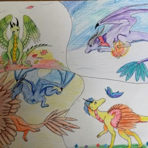 Tvorba dětí na výtvarnou soutěž